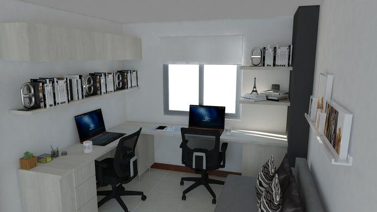 Naromi Design Ruang Studi/Kantor Minimalis Kayu White