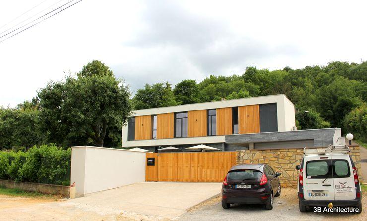 Vue de l'accès à la propriété 3B Architecture Villa Pierre Blanc