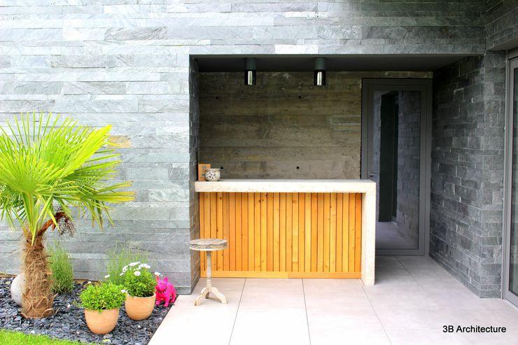 Bar du Poolhouse 3B Architecture Balcon, Veranda & Terrasse minimalistes Bois Gris