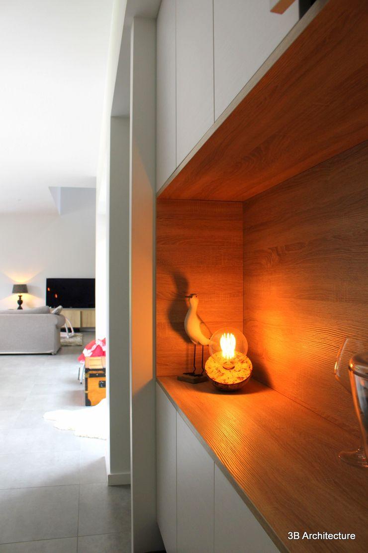 Aménagement de mobilier d'entrée 3B Architecture Couloir, entrée, escaliers minimalistes Bois Gris