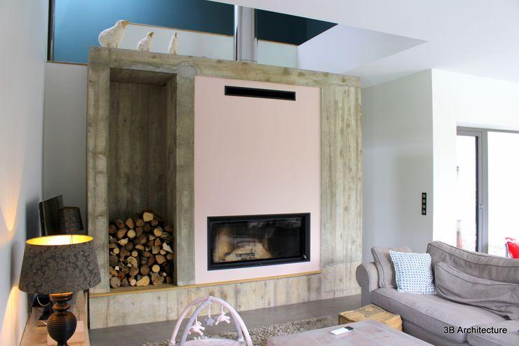 Séjour avec cheminée 3B Architecture Salon minimaliste Béton Gris