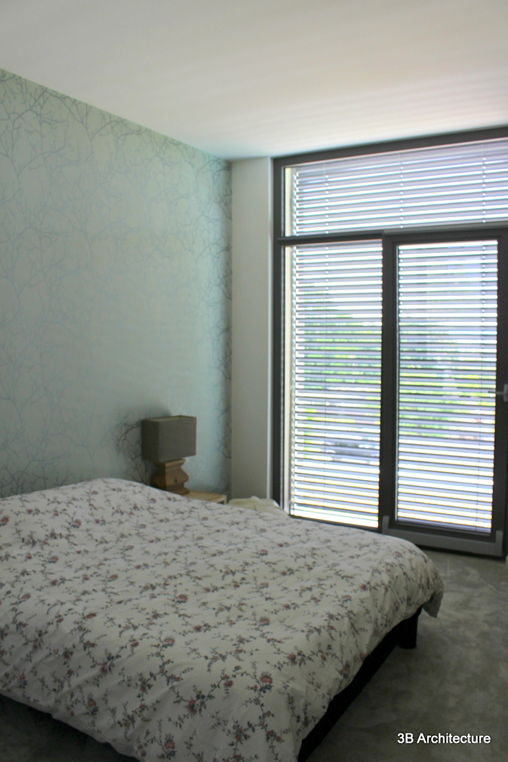 Vue de la suite parentale 3B Architecture Chambre minimaliste Bleu