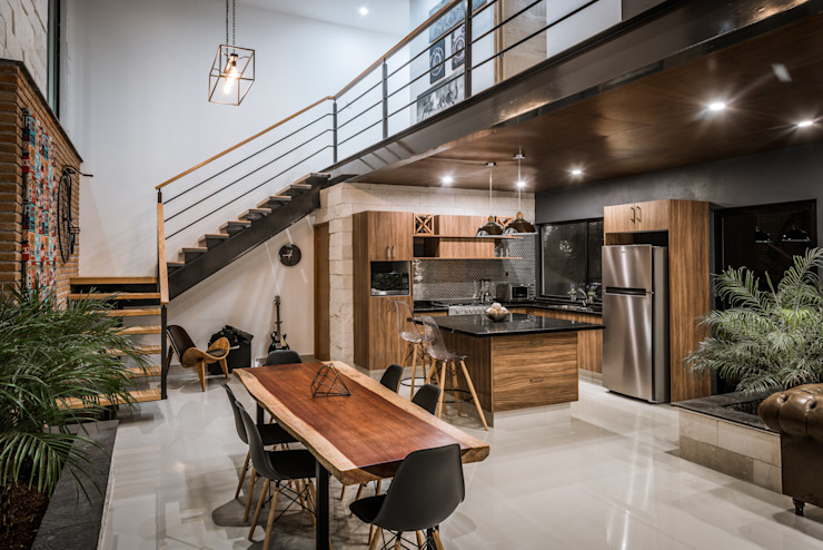 Loft Concord Arquitectos Ejecutivos Escaleras Hierro/Acero Acabado en madera