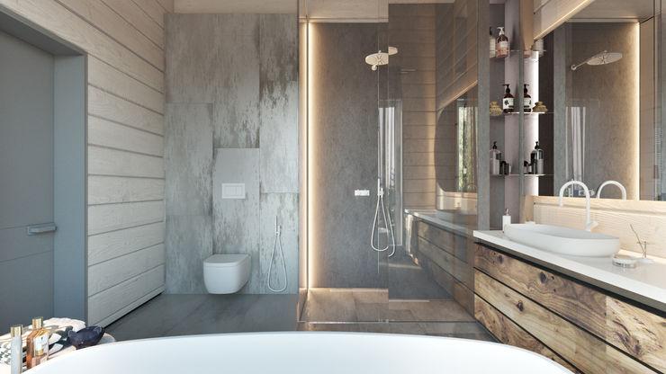 Дизайн интерьера коттеджа Ласковый май от студии Suite n.7 Suiten7 Ванная комната в скандинавском стиле Мрамор Серый