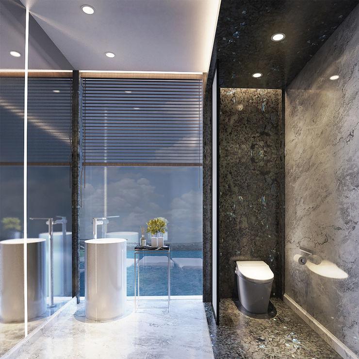 Veranda Apartement nakula arsitek studio Kamar Mandi Modern