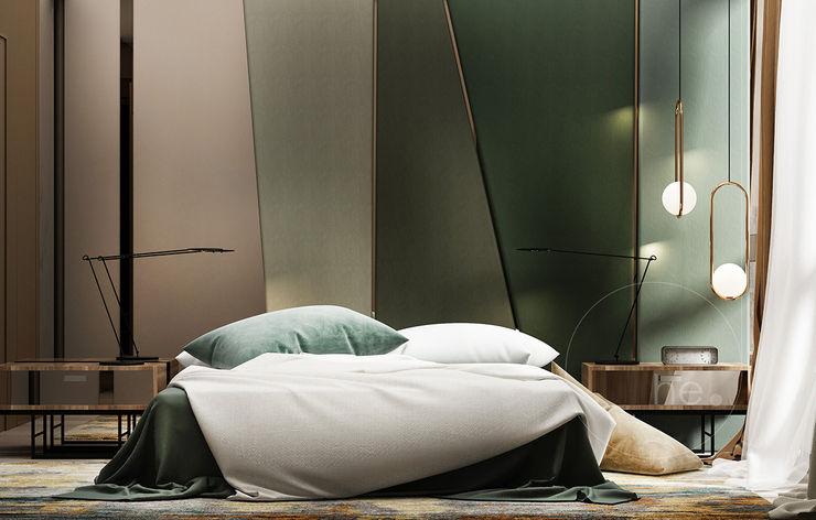 H O F F M A N N he.d group Спальня в стиле минимализм Дерево Зеленый