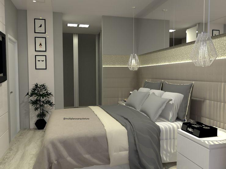 Quarto em cores neutras Laene Carvalho Arquitetura e Interiores Quartos modernos Concreto Cinza