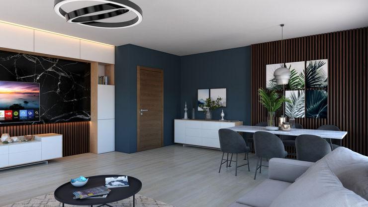 Dündar Design - Mimari Görselleştirme Nowoczesny salon