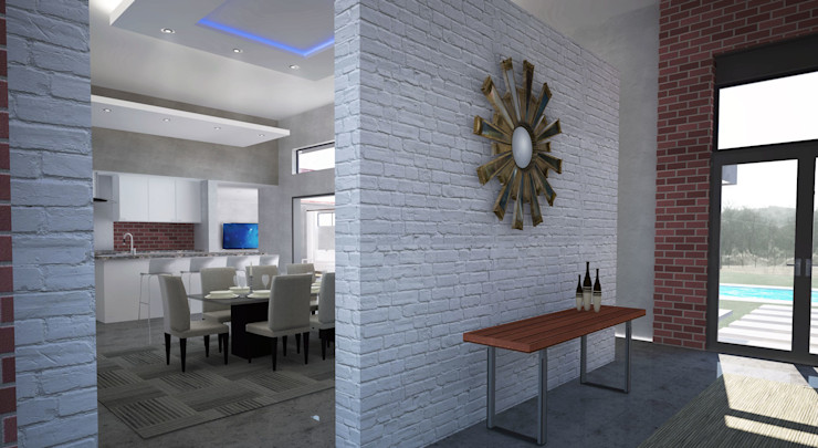 New Entrance A4AC Architects Modern dining room Ceramic White