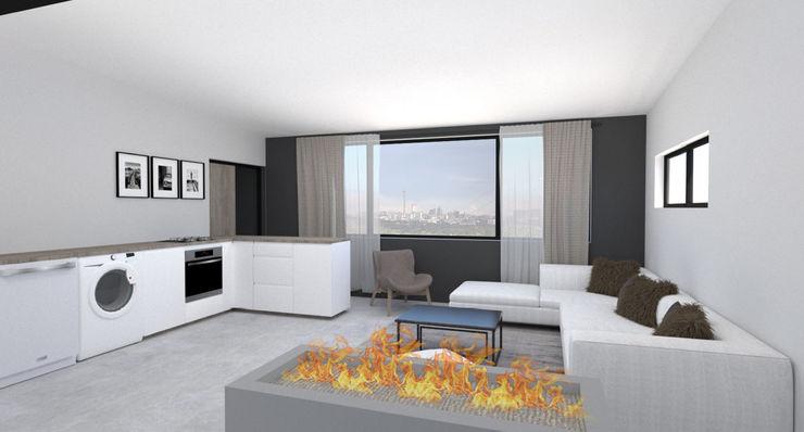 A4AC Architects Cocinas integrales Azulejos Gris