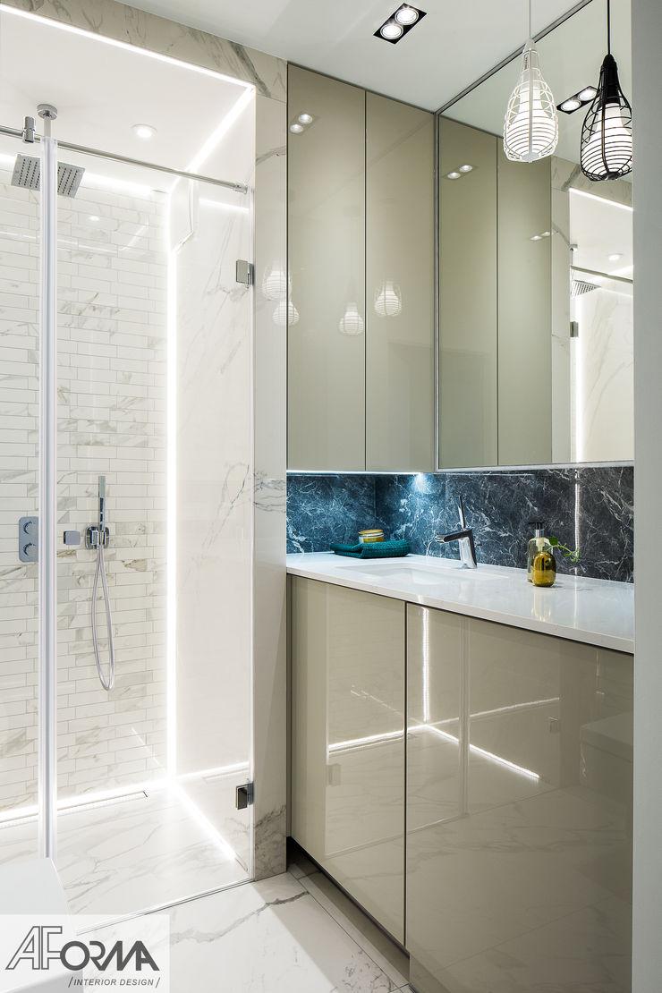modern apartament in grey AFormA Architektura wnętrz Anna Fodemska Modern bathroom Stone Grey