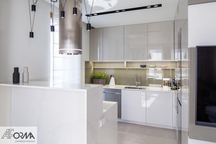 modern apartament in grey AFormA Architektura wnętrz Anna Fodemska Modern kitchen