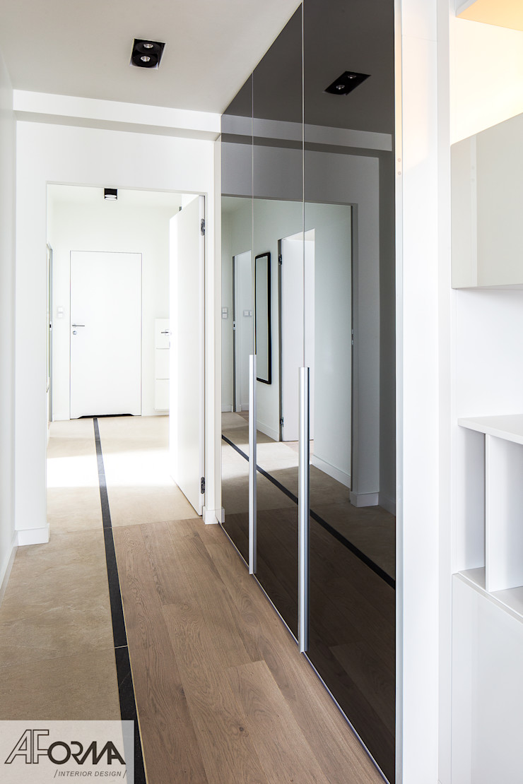 modern apartament in grey AFormA Architektura wnętrz Anna Fodemska Modern corridor, hallway & stairs