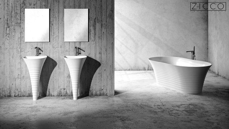 Freistehender Elementum Waschtisch und im Hintergrund die freistehende Elementum Badewanne ZICCO GmbH - Waschbecken und Badewannen in Blankenfelde-Mahlow Moderne Badezimmer Weiß