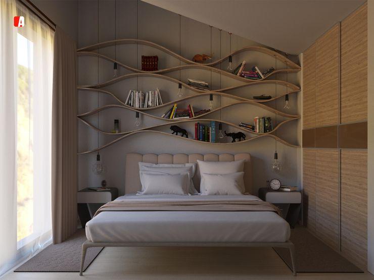 #03 - Tre Sotto un Tetto Il Migliore Architetto Camera da letto moderna Effetto legno