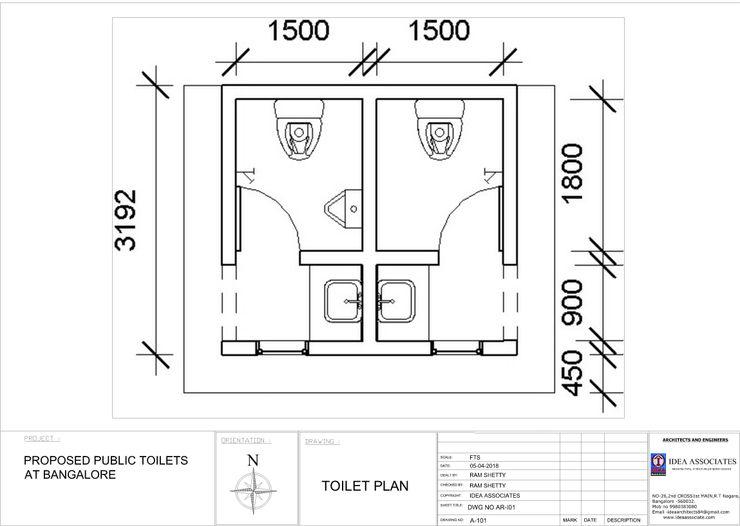 2d Plan Idea Associates Modern Bathroom Bricks Grey