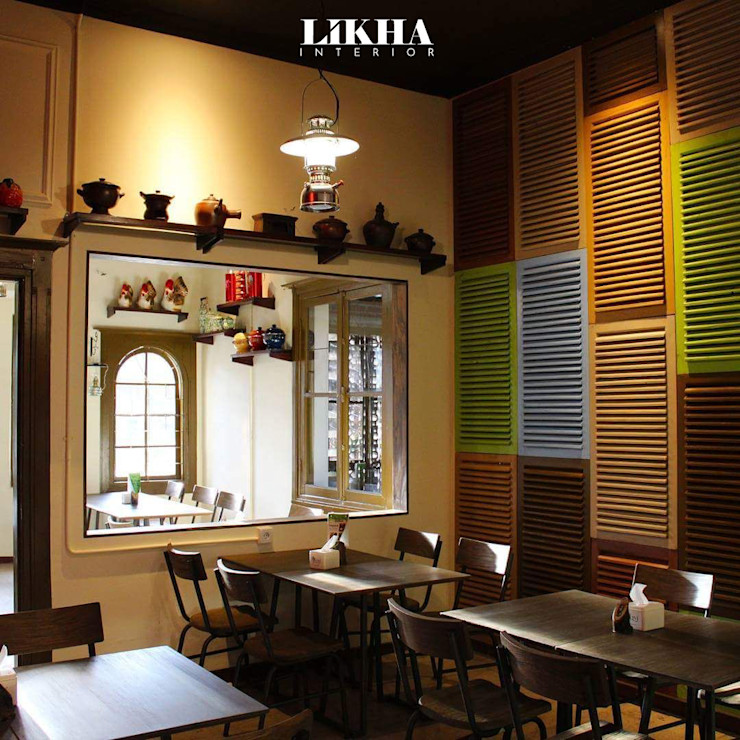 Rumah Makan Warung Dulukala Likha Interior Gastronomi Gaya Asia Kayu Lapis Multicolored