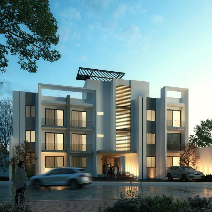 Edificio Departamentos Villa Plan Orlando Quiñones Casas modernas Ladrillos Gris