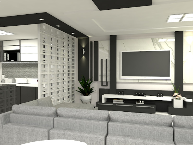 Sala de TV Laene Carvalho Arquitetura e Interiores Salas de estar modernas