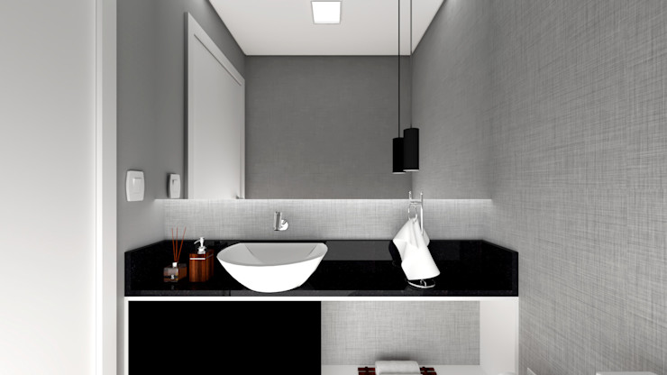 Estúdio j2G| Arquitetura & Engenharia Ванна кімната Дерево-пластичний композит Сірий
