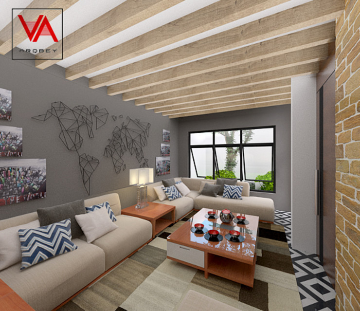 Imagen + Diseño + Arquitectura Modern living room Ceramic Wood effect