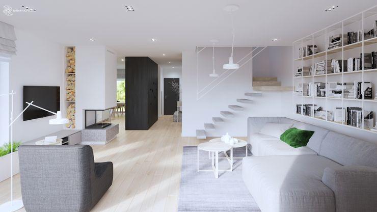 White and bright house interior. SARNA ARCHITECTS Interior Design Studio Schody