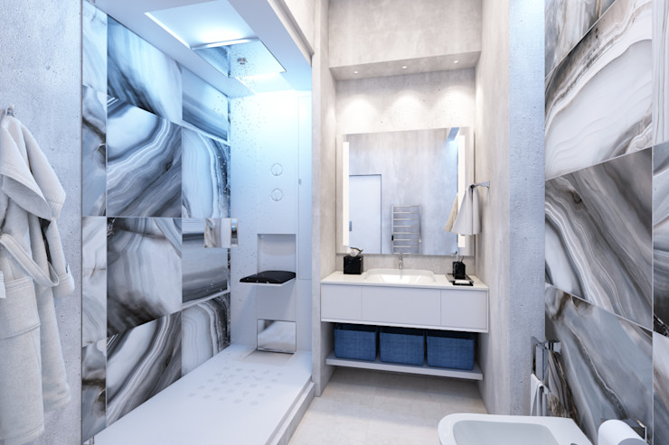 """Дизайн-проект таунхауса в КП """"Кронбург"""" Style Home Ванная в стиле лофт"""