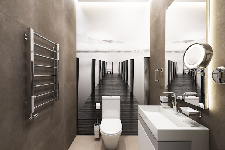 Дизайн-проект загородного дома в пос. Рождествено Style Home Ванная комната в стиле минимализм