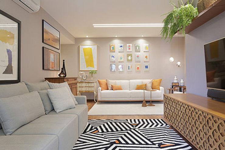 Paula Müller Arquitetura e Design de Interiores 现代客厅設計點子、靈感 & 圖片 木頭 Grey