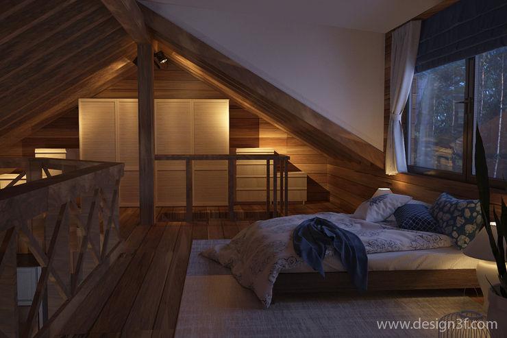 Спальня в стиле шале студия Design3F Спальня в рустикальном стиле