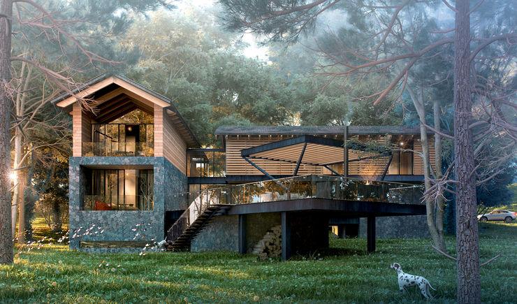 Vista Trasera Grupo Arquidecture Casas modernas