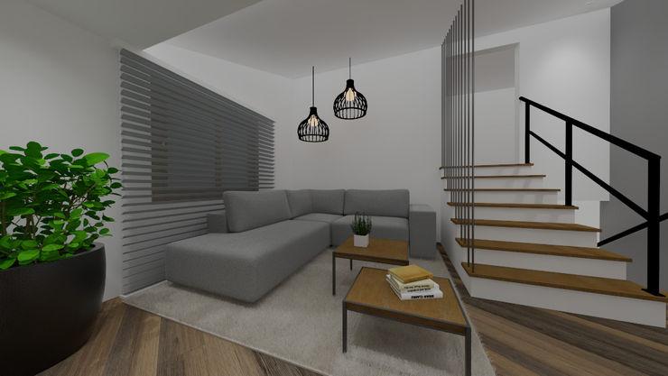 Sala de estar Cláudia Legonde Salas de estar modernas Madeira Branco