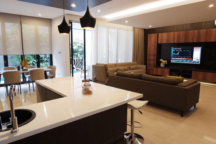 Modern Masculine house Exxo interior Dapur built in Marmer White