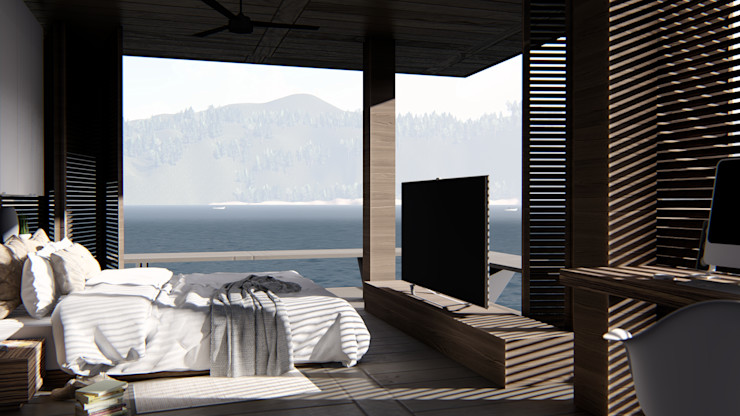 alexander and philips Tropical style bedroom Wood Brown