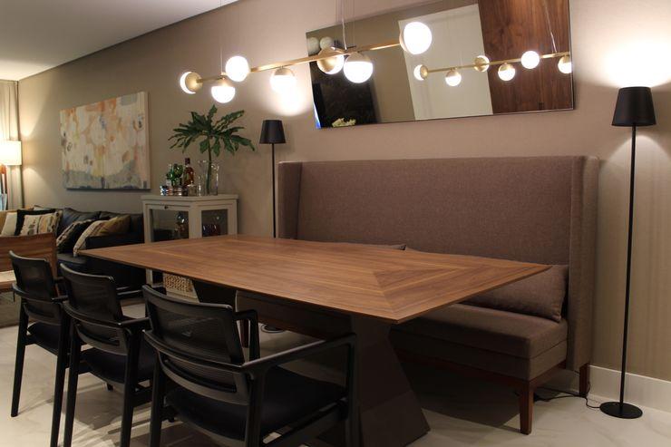 Ambiente do Jantar Geraldo Brognoli Ludwich Arquitetura Salas de jantar modernas Madeira Castanho
