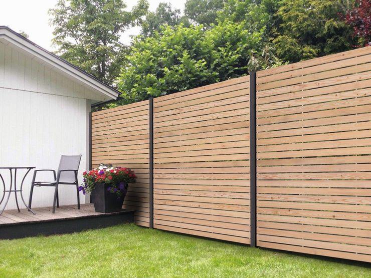 Rhombus-Steckzaun aus Sibirischer Lärche ca. 180x180 cm Ligna-Gard GmbH Rustikaler Garten Holz Braun