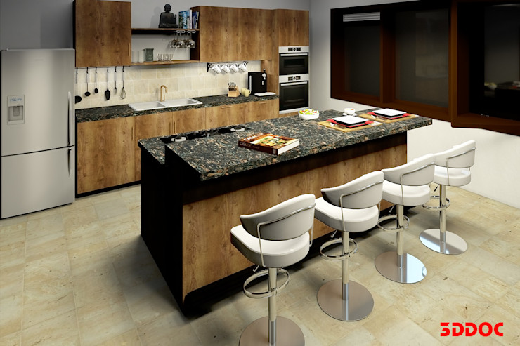 3DDOC Modern Mutfak Kahverengi