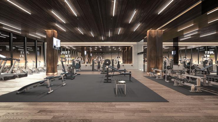 Rapzzodia Interiorismo Modern gym Wood Wood effect