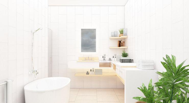 Kolletra Visual Studio Baños de estilo minimalista Granito Blanco