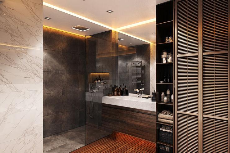 Openspace на Глухарской FISHEYE Architecture & Design Ванная комната в стиле минимализм