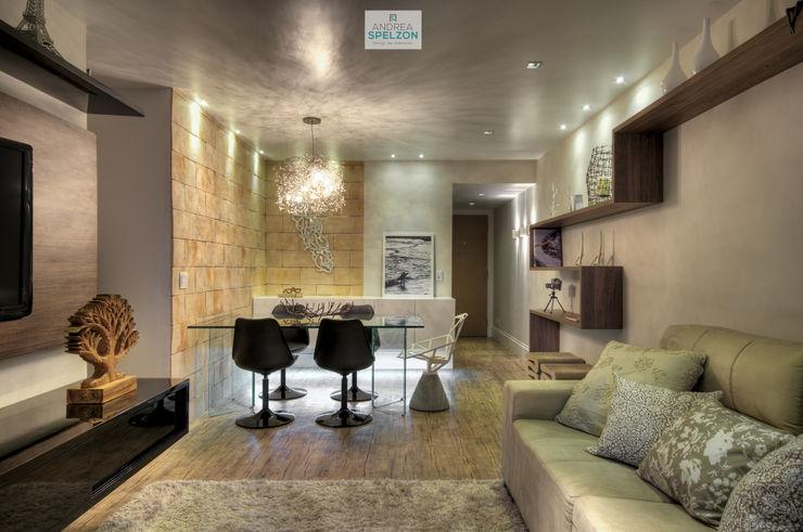 Living contemporâneo com personalidade Andréa Spelzon Interiores Salas de estar modernas
