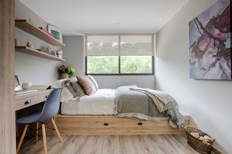 RESIDENCIA ESTUDIANTES ELIZABETH BACA Dormitorios modernos Compuestos de madera y plástico Gris