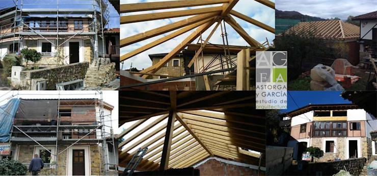 ASTORGA Y GARCÍA, ESTUDIO DE ARQUITECTURA Dach czterospadowy Drewno Czerwony