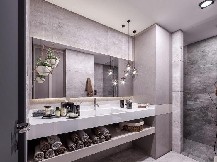 ANTE MİMARLIK 現代浴室設計點子、靈感&圖片 Brown