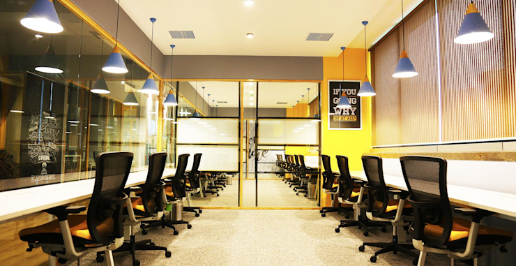 Team box Studio Gritt Eclectic style office buildings Plywood Multicolored