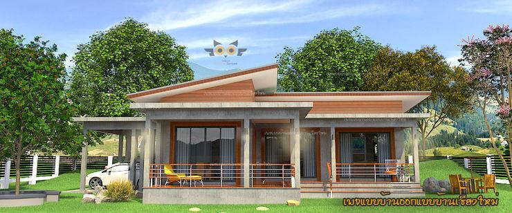 บ้านพักอาศัยชั้นเดียวผสมผสาน แบบบ้านออกแบบบ้านเชียงใหม่ บ้านสำหรับครอบครัว คอนกรีต Grey