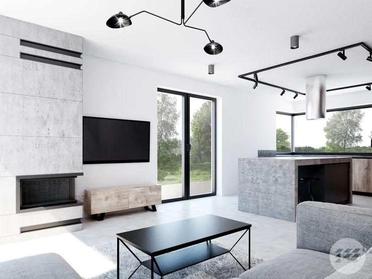 365 Stopni Salas de estar industriais Concreto Preto