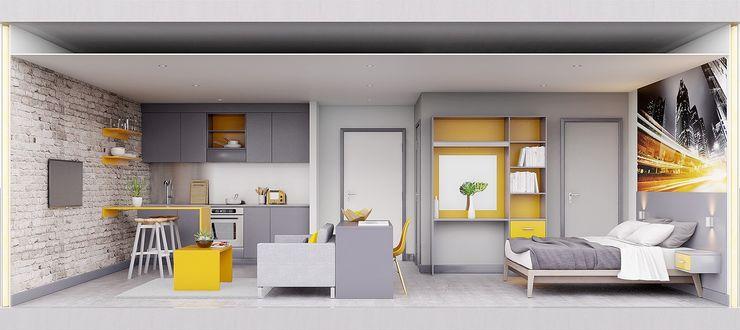 Section View of studio apartment CRISP3D Quartos modernos Tijolo Amarelo