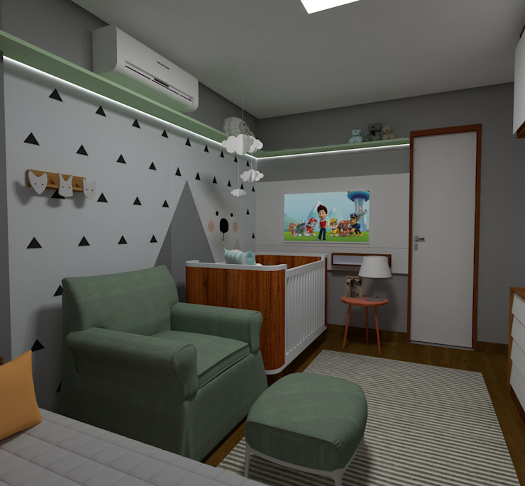 Carolina Mendes Arquitetura Baby room Grey