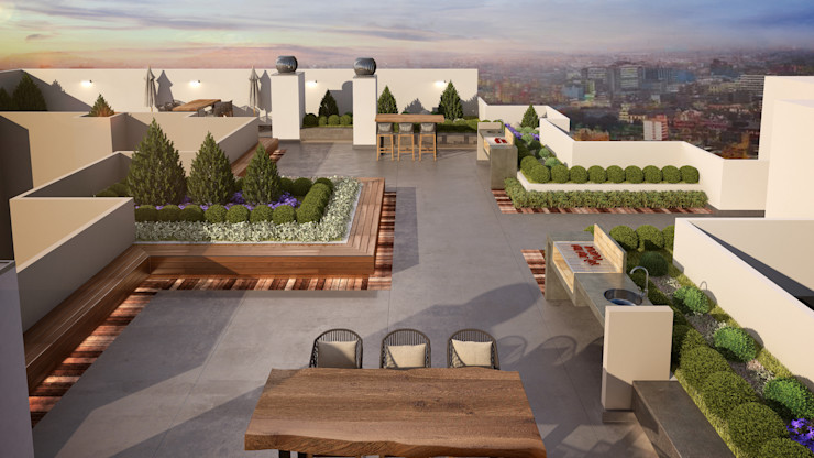 K'ANKA Modern balcony, veranda & terrace